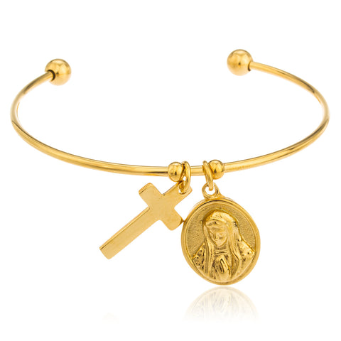 Stainless Steel Goldtone Virgin Mary And Cross Charms Cuff Bangle Bracelet