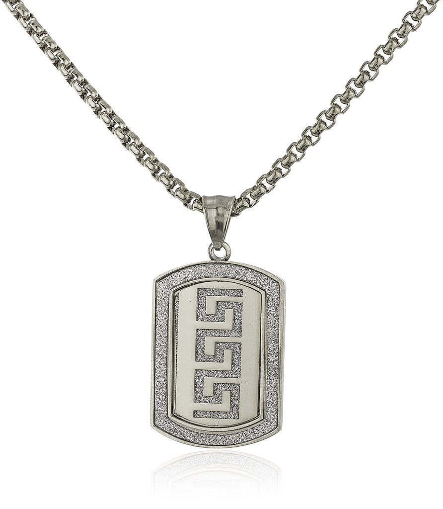 Stainless Steel Greek Key Sandblast Pendant...