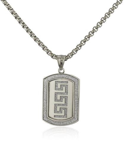 Stainless Steel Greek Key Sandblast Pendant With A 24 Inch Round Box Chain (Silvertone)