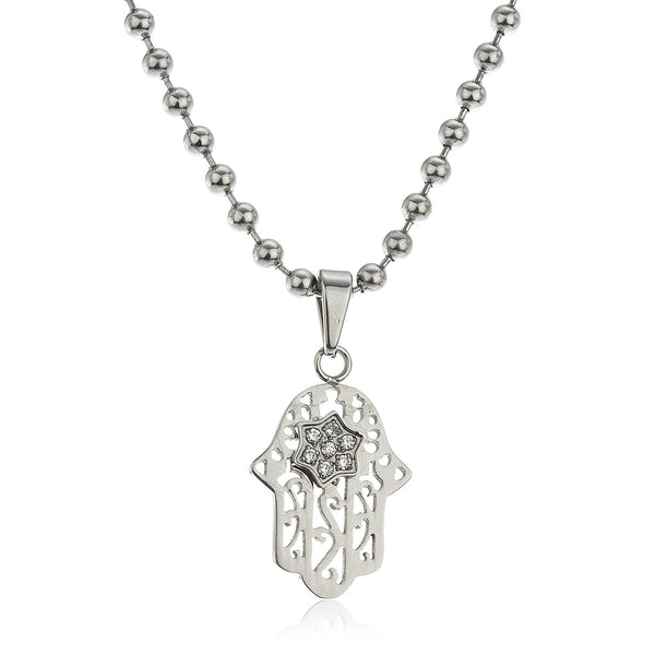 Stainless Steel Hamsa Pendant With Mini Star Stoned With A 24 Inch 3mm Bead Necklace