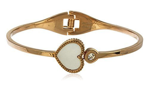 Stainless Steel Heart With Stone Hinged Bangle Bracelet (Rose-Goldtone)