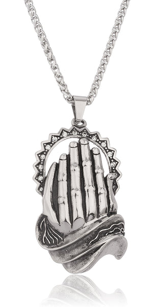 Stainless Steel 'Holy Prayer' With Stones Pendant With A 24 Inch Cuban Necklace