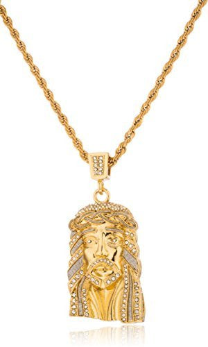 Stainless Steel Iced Out Large Jesus Face Pendant With A 24 Inch Rope Necklace (Goldtone Or Silvertone)