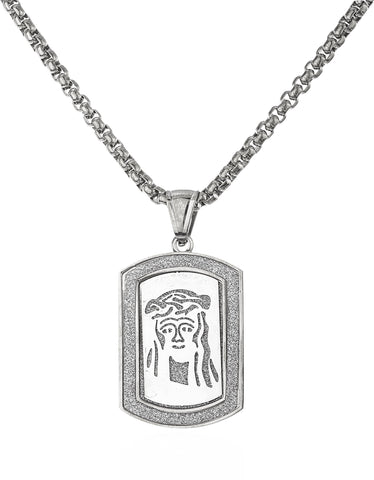 Stainless Steel Jesus Sandblast Dog Tag With A 24 Inch Round Box Chain (Silvertone)
