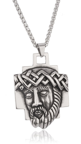 Stainless Steel Jesus With Crown Pendant With A 24 Inch Wheat Chain Necklace