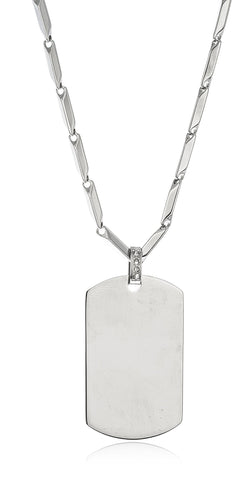 Stainless Steel Large Black Dog Tag Pendant With A 24 Inch Bullet Chain Necklace