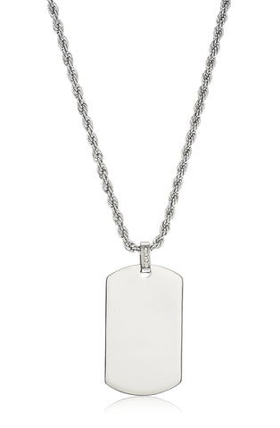 Stainless Steel Large Silver Dog Tag Pendant With A 24 Inch Rope Chain Necklace