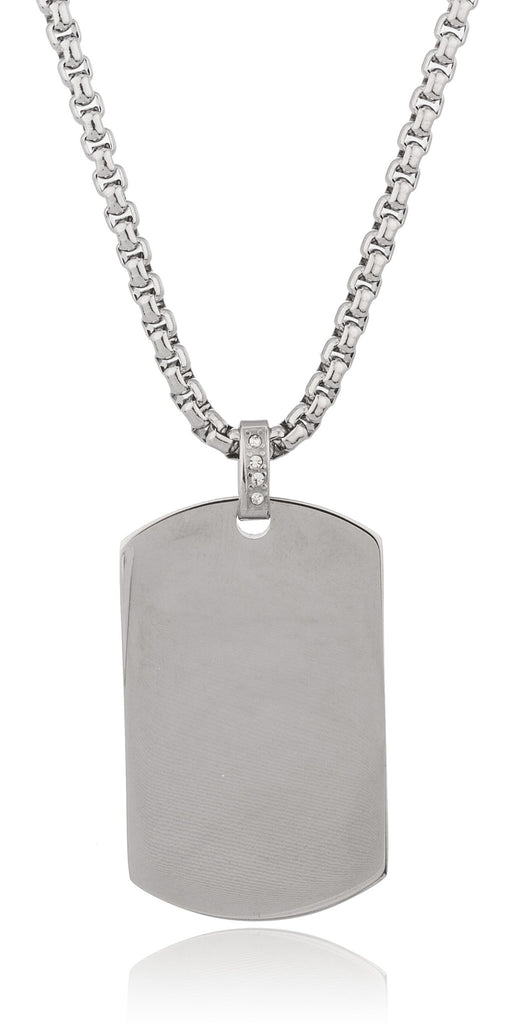 Stainless Steel Large Silvertone Dog Tag...
