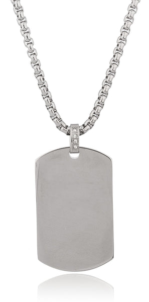 Stainless Steel Large Silvertone Dog Tag Pendant With A 24 Inch Round Box Chain Necklace