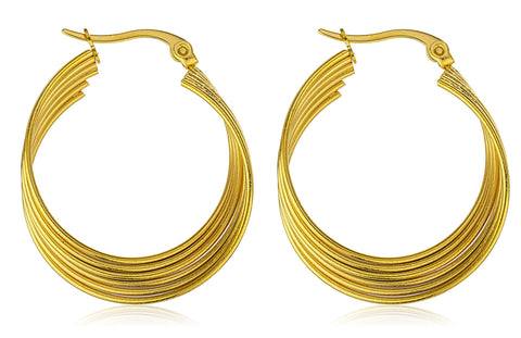 Stainless Steel Layered Spiral 1 Inch Hoop Earrings (Goldtone)