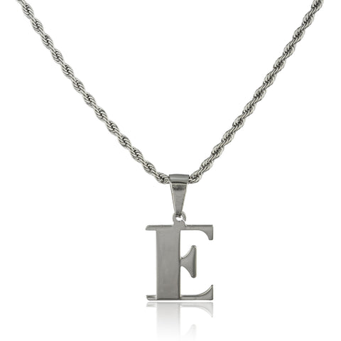 Stainless Steel Letters Of The Alphabet Pendants With A Stainless Steel 18 Inch Rope Chain (E)