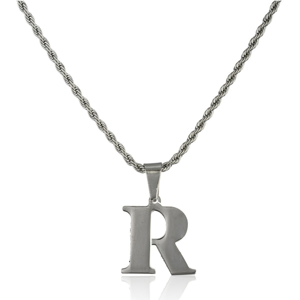 Stainless Steel Letters Of The Alphabet Pendants With A Stainless Steel 18 Inch Rope Chain (R)