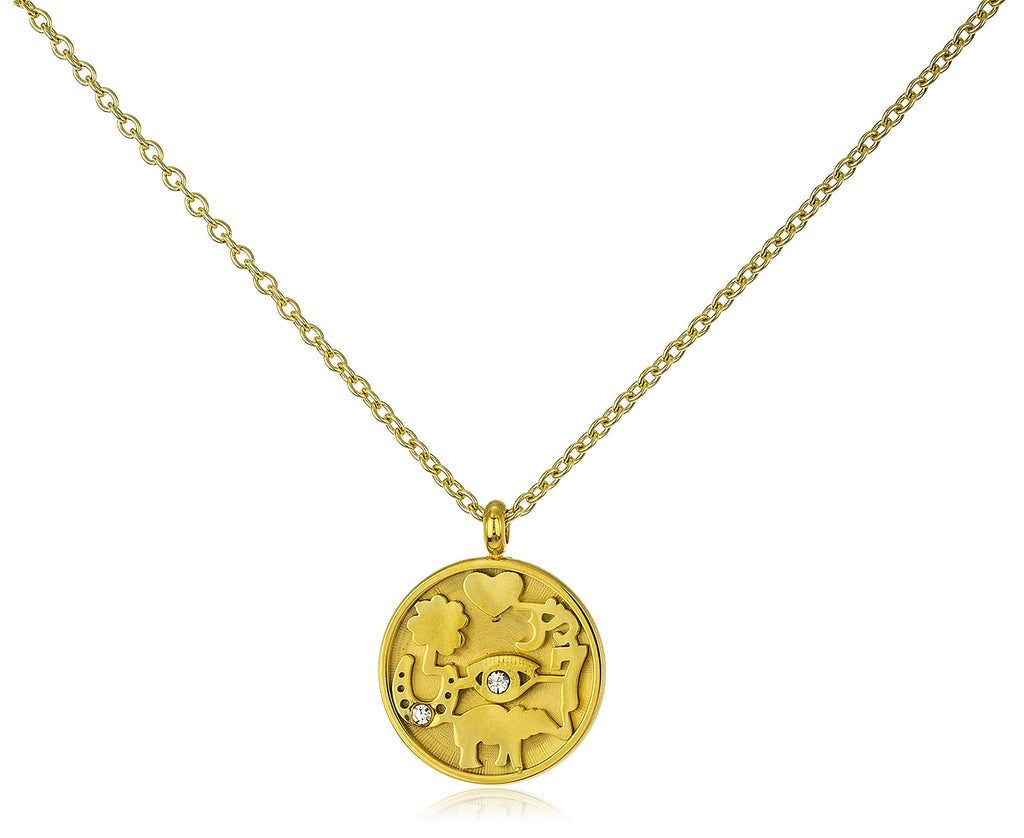 Stainless Steel Lucky Print Round Pendant...