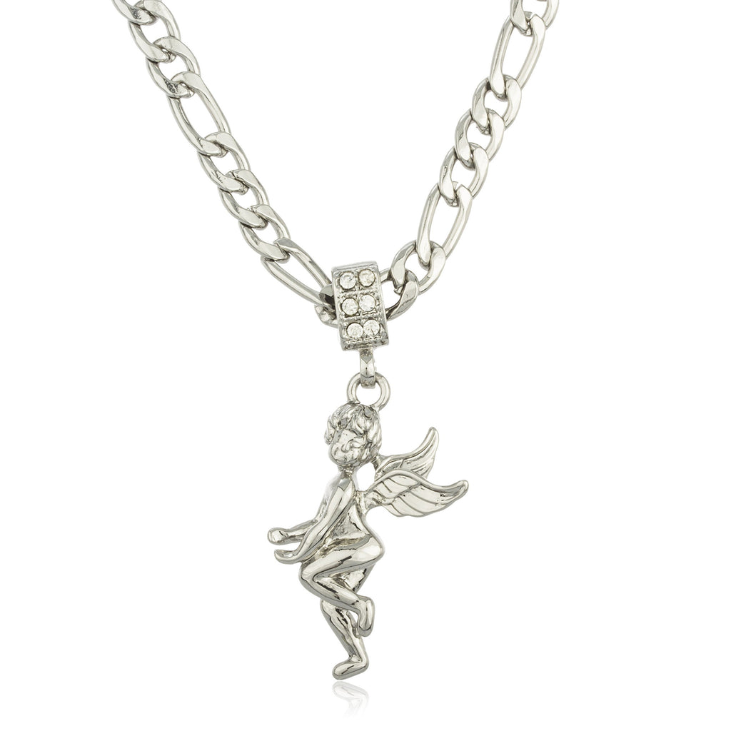 Stainless Steel Micro Iced Out Angel...