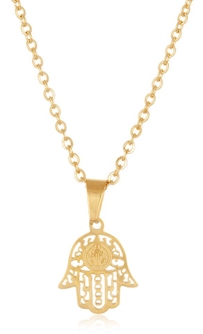 Stainless Steel Mini Hamsa Hand Link Adjustable 18 Inch Necklace (Goldtone)