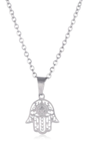 Stainless Steel Mini Hamsa Hand Link Adjustable 18 Inch Necklace (Silvertone)