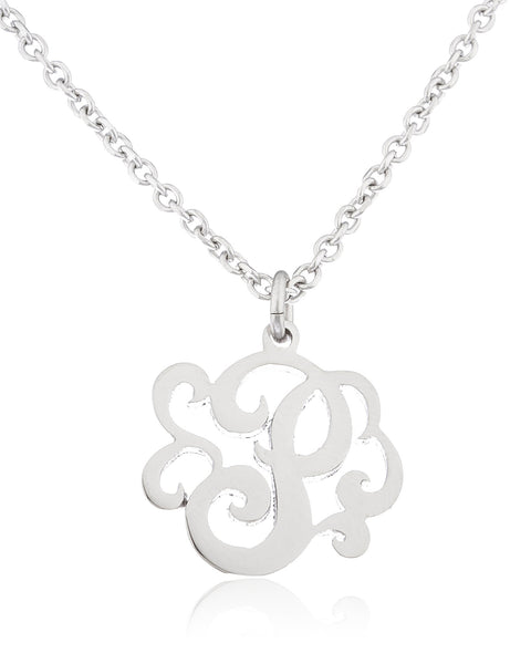 Stainless Steel Monogram Script Alphabet Letter Pendants With An Adjustable 18 Inch Link Necklace (P)
