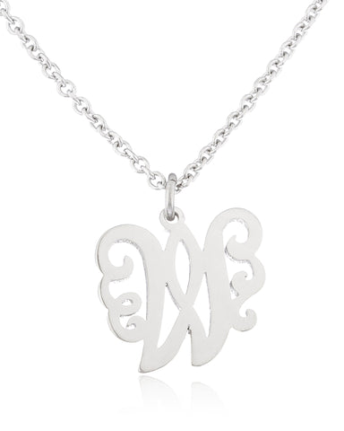 Stainless Steel Monogram Script Alphabet Letter Pendants With An Adjustable 18 Inch Link Necklace (W)