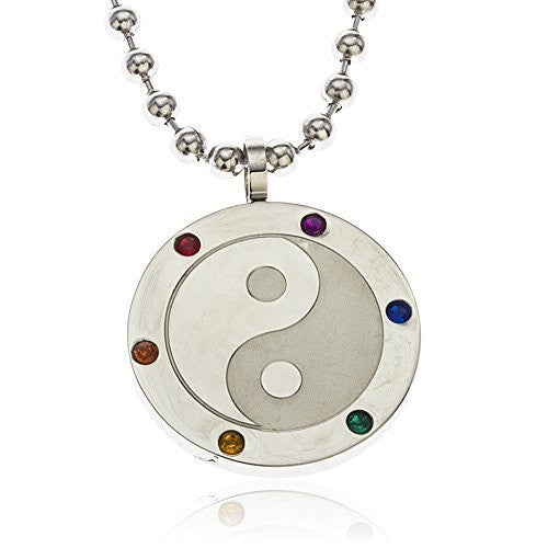 Stainless Steel Multi Color Stone Yin...