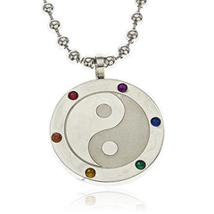 Stainless Steel Multi Color Stone Yin Yang Pendant With A 24 Inch 4mm Bead Necklace