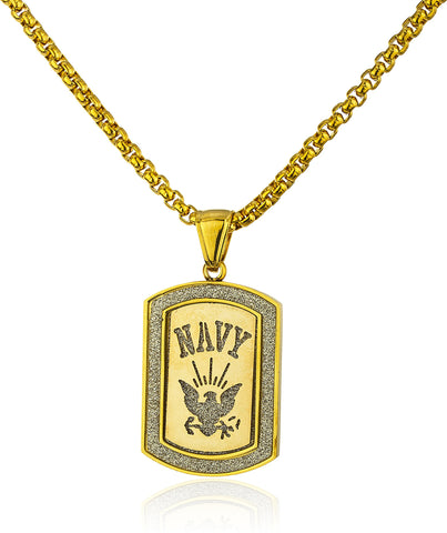 Stainless Steel Navy Sandblast Pendant With A 24 Inch Round Box Chain (Goldtone)
