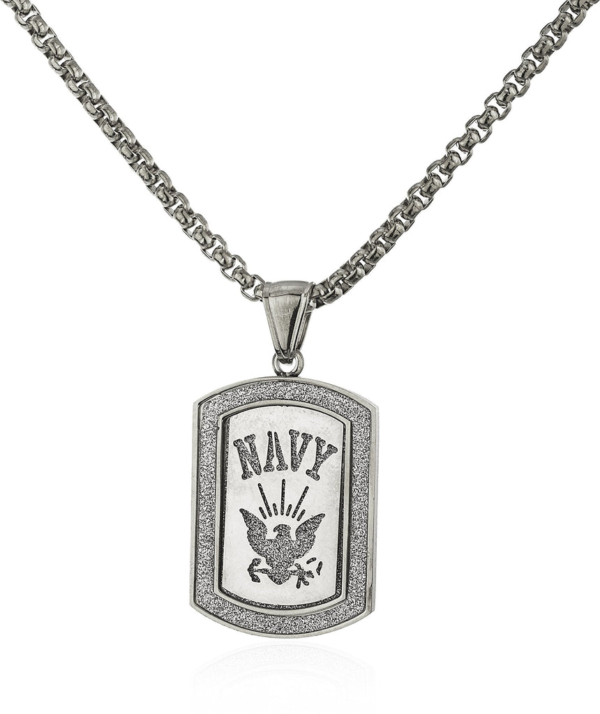 Stainless Steel Navy Sandblast Pendant With...