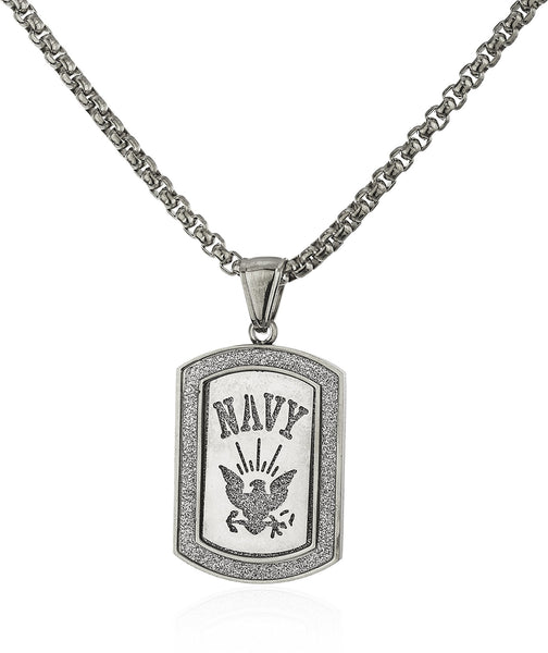 Stainless Steel Navy Sandblast Pendant With A 24 Inch Round Box Chain (Silvertone)