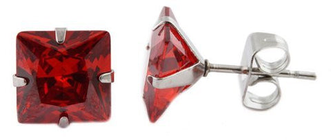 Stainless Steel Red Cubic Zirconia Square Stone Four Prong 8mm Stud Earrings