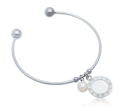 Stainless Steel Roman Numeral With Pearl Charm Bangle Bracelet (Silvertone)