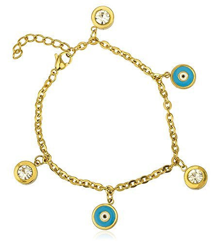 Stainless Steel Round Evil Eye And Dangling Stone 8 Inch Bracelet (Goldtone W/ Blue)