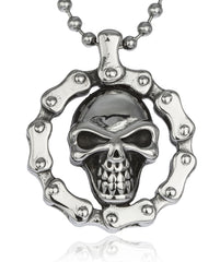 Stainless Steel Round Skull-and-Bones Biker Pendant With 24 Inch Ball Chain Necklace