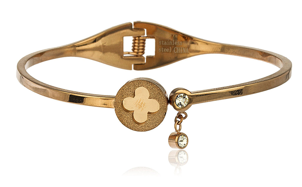 Stainless Steel Sandblast Clover Hinge Bangle...