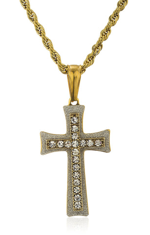 Stainless Steel Sandblast Cross With Clear Stones On A 24 Inch Rope Chain (Goldtone W/ Clear)