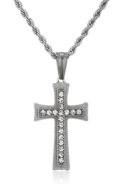 Stainless Steel Sandblast Cross With Clear Stones On A 24 Inch Rope Chain (Silvertone W/ Clear)