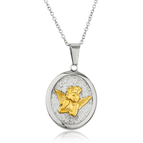Stainless Steel Silvertone And Goldtone Cherub Circle Pendant With 16-18 Inch Link Chain Necklace