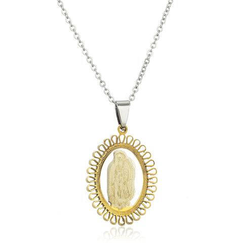 Stainless Steel Silvertone And Goldtone Virgin Mary Flower Design Pendant With An Adjustable 18 Inch Necklace