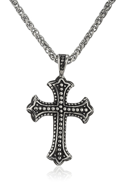 Stainless Steel Silvertone Black Design Cross Pendant With A 24 Inch Puff Foxtail Chain