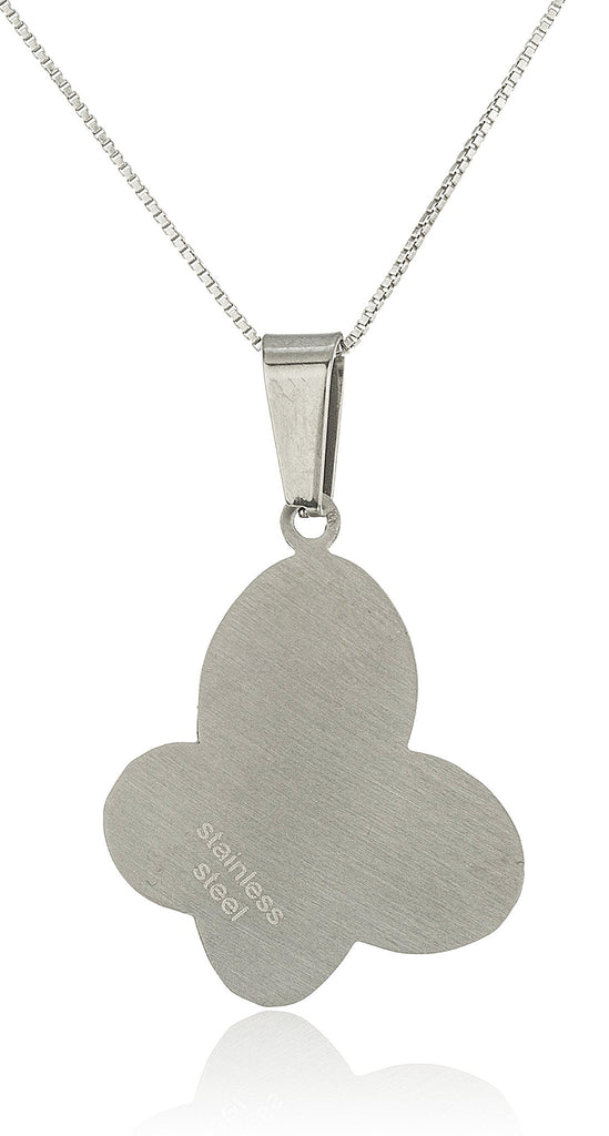 Stainless Steel Silvertone Butterfly Faux Mother...