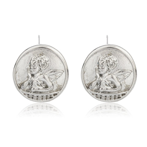 Stainless Steel Silvertone 'Cupid' Cherub Circle Earrings