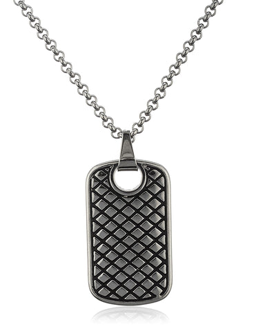 Stainless Steel Silvertone Designer Dog Tag Pendant With A 24 Inch Cable Chain