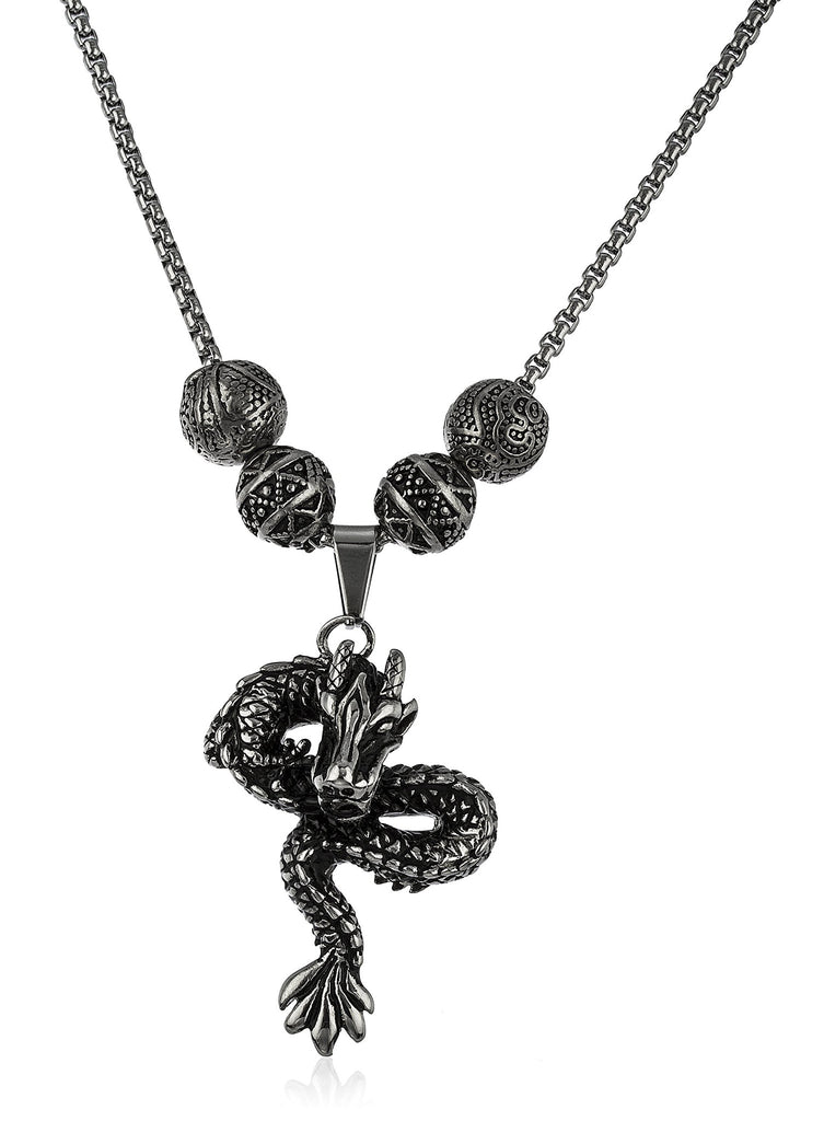Stainless Steel Silvertone Dragon Pendant With...
