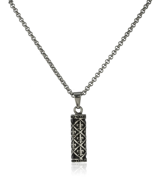 Stainless Steel Silvertone Fleur De Lis Cylinder Pendant With A 24 Inch Cable Chain