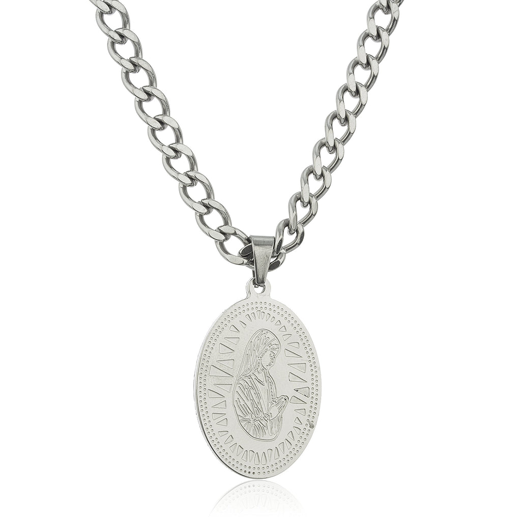 Stainless Steel Silvertone Mother Mary Micro...