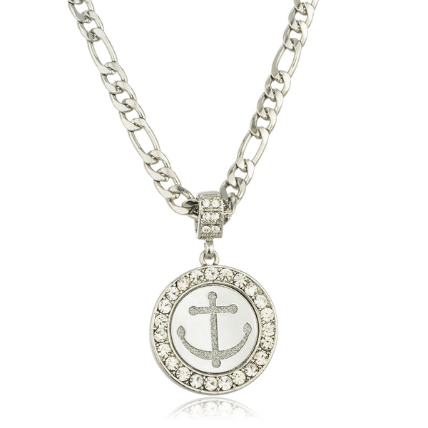 Stainless Steel Silvertone Sandblast Anchor Micro Pendant With Clear Stones And A 24 Inch Figaro Necklace