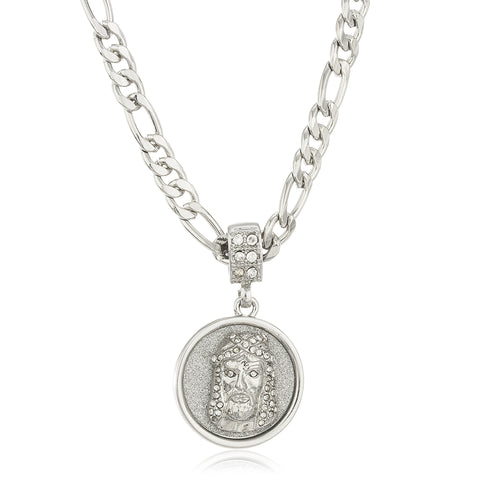 Stainless Steel Silvertone Sandblast Jesus Face Micro Pendant With Clear Stones And A 24 Inch Figaro Necklace