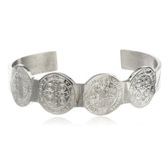Stainless Steel Silvertone Sentia Mvniamvr Cuff Bangle
