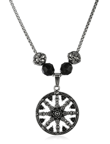 Stainless Steel Silvertone Ship Wheel Pendant With A 24 Inch Box Chain