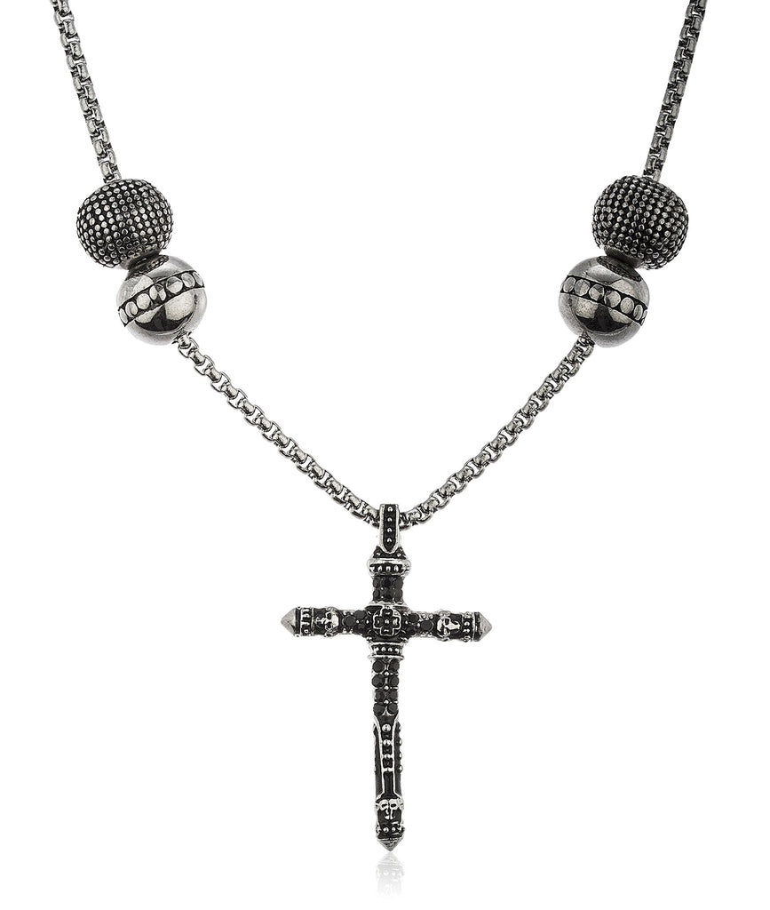 Stainless Steel Silvertone Vintage Cross With...