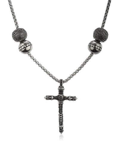 Stainless Steel Silvertone Vintage Cross With Black Stones 24 Inch Round Box Chain