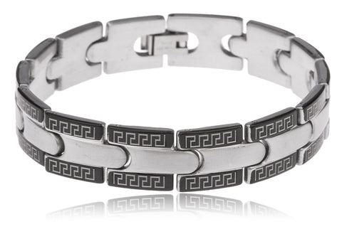 Stainless Steel Silvertone With Black Greek Key Design 13mm Square Links 8.5 Inch Bracelet